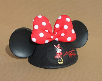 Vintage Minnie Mouse youth cap with Ears and Polka Dot Bow - Disney