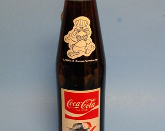 Coca Cola bottle Olympics Commemorative Bottle 1980 Olympics Collectible bottle Soda pop Coke bottle