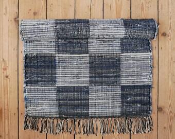 Blue check cotton rug