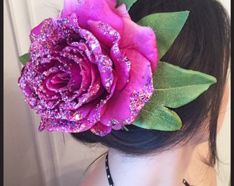 Pink Glitter Rose Fascinator/Clip/Pinup Style/Burlesque.Ref:076