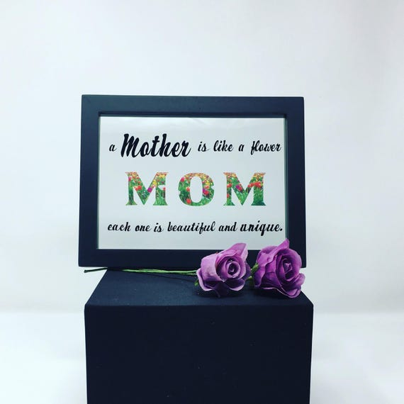 Mother's Day Gift, A Mother is like a flower frame, Mother's Day Frame, Mom Flower Frame, Personalized Floating Frame, MOM Birthday Gift