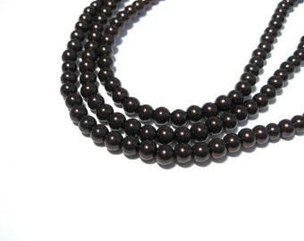 1 Strand Dark Copper Brown Glass Pearls 4mm