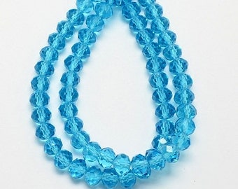 1 Strand Turquoise Blue Faceted Rondelle Glass Beads 6x4mm Handmade Glass Beads Imitate Austrian Crystal ( No.0M1)