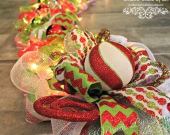 Garland, Christmas Garland. deco mesh garland, swag, lighted garland, elf garland, Christmas