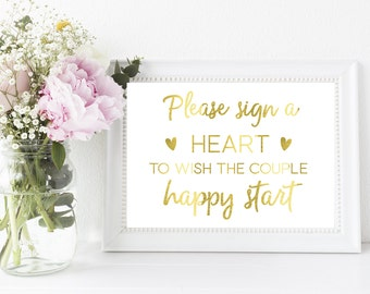 Wedding momento // Wedding activity // Please sign a heart // Wedding memory // Gold foil print // Wedding signs // Hearts // celebration