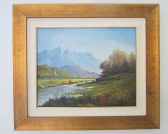 Andres Orpinas Landscape Framed Painting Oil On Canvas