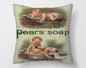 Pears Soap Advert -Cushion Cover Case Or Stuffed With Insert