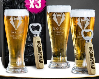 3 x Engraved Schooner Beer Glasses & Free Bottle opener 420ml Groomsman Wedding Gift - With Gift Box Option Free Shipping Aus Wide