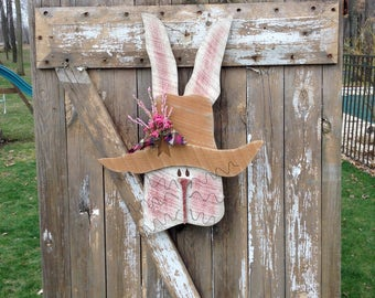 Primitive decor, Country Primitive, door hanger, Primitive bunnies, bunny,Wall decor, Easter Decor, spring decor, primitive wood rabbit