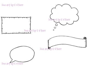 Banner, Parchment, Thought Cloud and Speech Bubble – Digi Stamp, Cardmaking, Scrapbooking, Hand Drawn, Printable, Instant Download