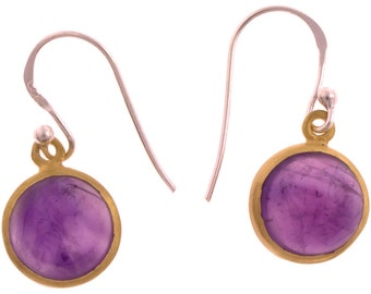 Silver earrings round stone gold plated Amethyst purple earrings 925 Sterling Silver (No. OSG-45)