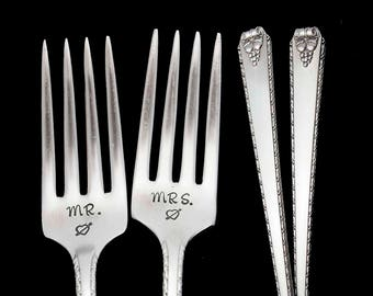 Stamped Fork Mr Mrs Fork Something Old Wedding Silverware Engagement Gifts Under 30, Vintage Floral Fruit  Dinner Forks Engraved Flatware