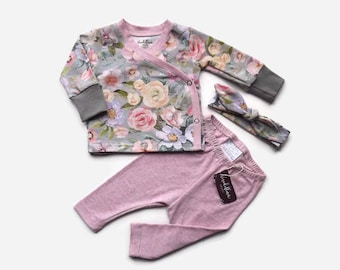Coming Home Outfit Baby Girl - Floral Newborn Set - Newborn Set Girl - Newborn Wrap Shirt - New Baby Set - Trendy Newborn Girl Set