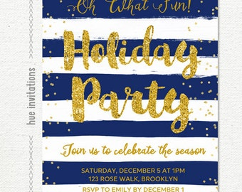 holiday party invitation, navy blue white stripes gold glitter christmas party invitation, printable digital file customized with your info