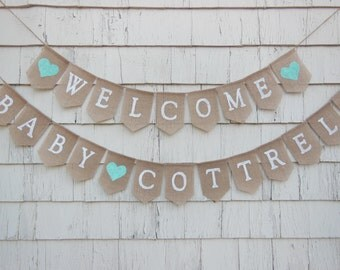 Aqua Baby Shower Decor, Welcome Baby Banner, Gender Neutral, Burlap Baby Banner, Baby Shower Banner Garland Bunting Custom Personalized