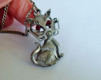 SALE Pewter Cat Pendant Necklace, Vintage Pewter Cat with Glasses and red eyes, Old Lady Cat Jewelry Budget Bling, Cat Jewelry, Gingerslittl