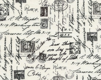 Script Fabric; C1904; You Choose Size; Timeless Treasures April in Paris/French Themed; Fabric with Words; Handwriting