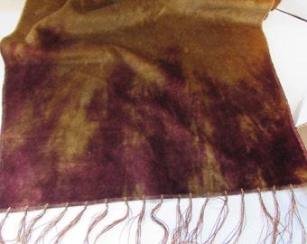 Bohemian Style Runner Vintage Velvet Scarf Table Runner 1920 Era Table Scarf Vintage Home Decor Gold Tone Velvet Plum Velvet Tie Dye Linen