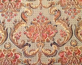 1950's Barkcloth- 3 square yards, unusual Damask Victorian, Edwardian pattern, very pretty