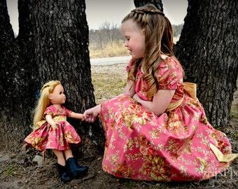 """Girls Spring Dress, 18"""" doll dress, girls dress, girls clothing, girls Easter dress, sizes 2T, 3T, 4T, 5, 6, 7, 8, 10, 12"""