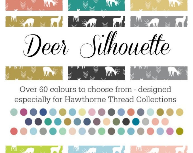 Featured listing image: Deer Silhouette - Basics Collection by Hawthorne Threads - Over 60 Colours | PRINT-TO-ORDER | Quilting, Sewing, Home Decor supplies