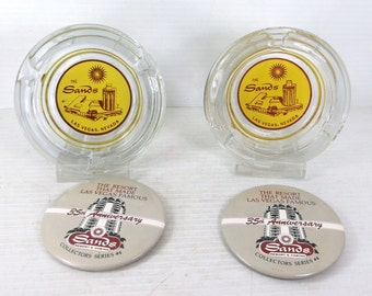 Sands Las Vegas glass Casino Hotel Astrays and 35th Anniversary Pinback buttons