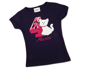Girl's Kitten Birthday Shirt with Glitter Number and Name
