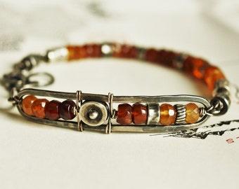 Oxidized silver garnet bracelet, hessonite garnet bracelet, orange bracelet, unique jewelry, original KokopeliStudio design, made to order