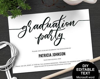 Graduation party invitations, Graduation celebration, Graduation party invites,DIY, printable, templates, editable text, Simple, modern.