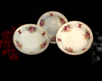 chinese asian ceramic floral dipping bowls signed