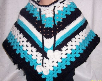 Girl Blue Black and White Poncho warm - soft - lite weight Unique Handmade Crochet