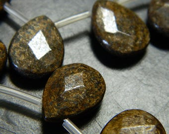 Natural Bronzite Faceted Drop Briolettes - Bronzite Top Drilled Faceted Teardrop Briolette Beads - 2 Beads Per Order