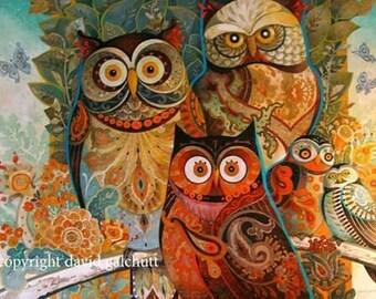 "David Galchutt - OWLS (WISE GUYS)  Rug Hooking Pattern (32"" x 24"")"