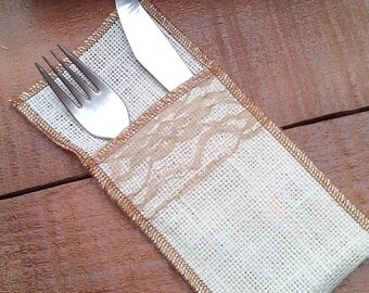 Ivory Burlap Cutlery Holder -  Burlap and Lace Silverware Sleeve - Burlap Cutlery Pocket - Wedding Decor - Flatware Holder - Choose Qty