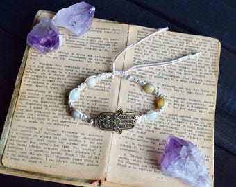 Amazonite Hamsa Bracelet. Hemp Bracelet. Gemstone Jewelry. Hippie. Boho Jewelry. Natural Jewelry.