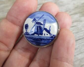 Vintage Silver Delft Windmill Brooch, Blue White Porcelain