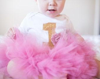 First Birthday Outfit| Baby Girls First Birthday Outfit| 1st Birthday Outfit| Baby Girl Mauve and Gold Tutu