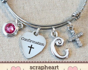 Custom CONFIRMATION Gift, Religious Cross Jewelry, Personalized Girls Confirmation Charm Bangle Bracelet, Confirmation Sponsor Gift