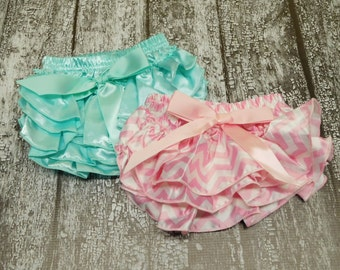 set of two baby bloomers, pink chevron diaper cover, blue diaper cover, pink ruffle bloomers, blue satin bloomers, pink lace diaper cover
