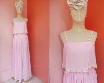 Hippie Dress 1970s Maxi Dress Boho Dress Prairie Dress Bohemian Dress 70s Dress Pink Maxi Dress Summer Dress Strap Dress Cotton Dress XS
