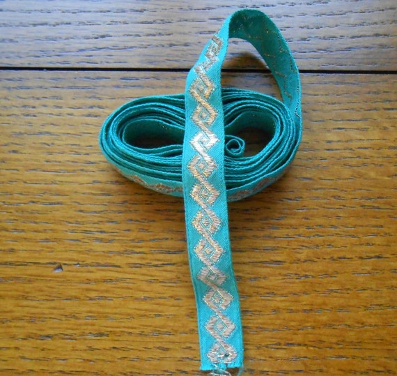 Sewing Ribbon Trim Turquoise Green With Gold Metallic Aztec Design DIY Projects