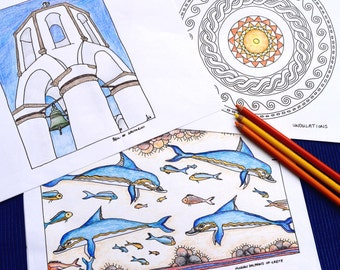 Greece Coloring or Watercolor Pages with hand-drawn images // travel activities // gifts for travelers // honeymoon gifts