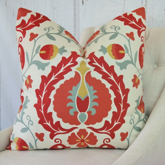 Designer Pillows Red Accent Throw Covers 24x24 22x22