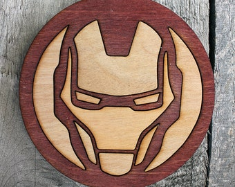 Iron Man Wood Coaster | Rustic/Vintage | Hand Stained and Glued | Comic Book Gift