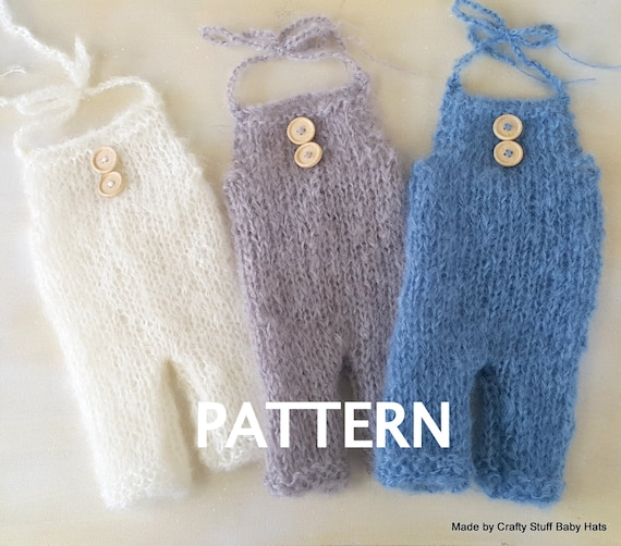 Knitting Pattern For Toddler Overalls : Baby Overall knitting PATTERN Baby Romper by CraftyStuffBabyHats