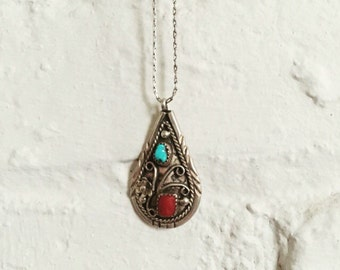 Vintage Native Turquoise and Coral Drop Necklace / Sterling Silver