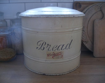 Unusual round vintage bread box, shabby cream paint bread bin