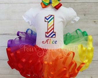 Rainbow Outfit, Over the Rainbow Outfit, Wizard of Oz Outfit, Rainbow Dress, Girl Rainbow Tutu, Girls Rainbow Dress, Rainbow Birthday