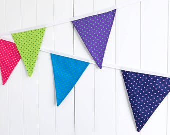 Multi-coloured Spots Bunting - Summer Banner - Birthday Party Bunting - Garden Party Flags - Party Banner - Polka Dot Banner - Child Bedroom