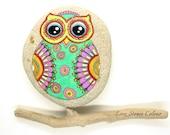 Sasso of the Adriatic Sea, hand painted. Owl. Mandala Stones.